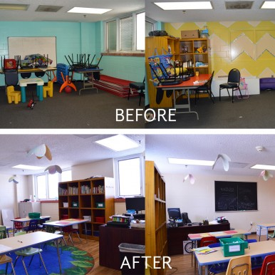 Learning center before and after